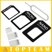 Wholesale Sim Card Convert In Noosy Nano Micro SIM Adapter Eject Pin For Iphone s With Retail Box