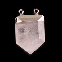 crystal quartz double point - 2014 New Rock Crystal Quartz Natural Stone Royal Shield Double Hook Pendant Charms Point Healing Chakra Amulet Jewelry