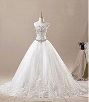 Wholesale Hot sales elegant charming white ivory luxury crystal sugar brought big lady back strap design wedding dress