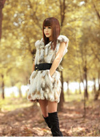 rabbit coat - Hot Sale New Women Fashion Fur Coat Vest Real Rabbit Fur With Hooded Sashes Sleeveless mink fur coat