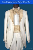 Cheap 2014 New Arrival Custom Made Real Sample White with Gold Line Groom Tuxedos Suits For Wedding Evening Formal Men Suit Jacket+Pants+Tie
