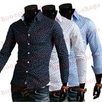 Wholesale Korean Slim Fit Shirts Brand - Korean Style New 2015 Famous Brand Autumn Men Slim Fit Long Sleeve Shirt Cotton Material Male Polka Dot Stylish Shirts 4 Size