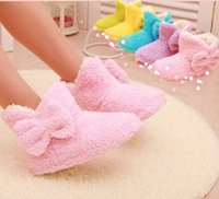 Wholesale New Women s Winter Home Cotton padded Shoes Plush Soft Fleece Warm Indoor boots Candy colored Home Cotton Boots Colors