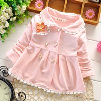 cotton clothing for children - Newborn baby spring autumn clothes long sleeve cardigan for babies bowknot lace trim baby dress infant girl outwear child cotton clothing