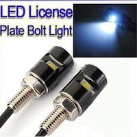 Wholesale 10pcs White LED SMD Motorcycle Car License Plate Screw Bolt Light lamp bulb V