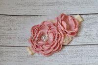 baby couture - Satin Burned Flower Matching Sparking Rhinestone Pearl Baby Headband Layered Flower Headband Couture Headband