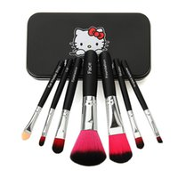 beauty case box - 60sets Iron Case Hello Kitty Make Up Cosmetic Brush Kit Makeup Brushes Pink Iron Box Toiletry Beauty Appliances Brushes set