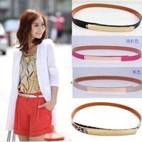 Wholesale New Fashion Women Bling Gold Metal Mirror Shiny Skinny Metallic Plate Waist Belt
