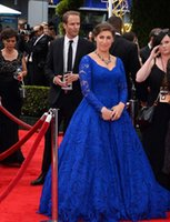Cheap 2015 Plus Size Prom Dresses With Sweetheart Long Sleeves Floor Length Lace Royal Blue Plus Size Red Carpet Celebrity Evening Gowns V Back