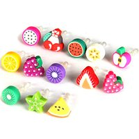 al por mayor fruit anti dust earphone-Anti del polvo de fruta Plug Cap de 3.5mm para auriculares Jack Plug polvo animal del auricular para el iphone de silicona suave Plug teléfono móvil del enchufe del polvo GD-T04