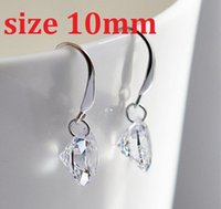 Wholesale 2015 Real Brazilian Virgin Hair valentine s Day Silver Drop Round Earrings with mm Cz Cubic Zirconia Crystal Birthday Gift Zircon