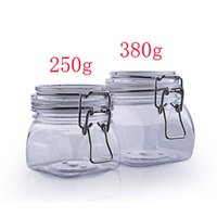 Wholesale 250g empty square skin care cosmetic bottle jar with clip lid oz clear cream bottle pot containers storage shampoo container