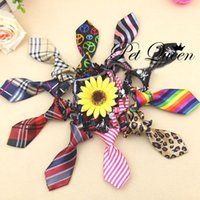 Wholesale Mix Color Polyester Silk Pet Dog Necktie Adjustable Handsome Bow Tie Pet Collar Cute Gift