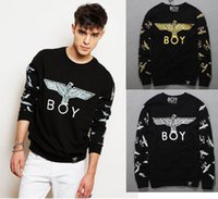 Wholesale new fashion men casual sweatshirts print London Boy eagle pullover hoodies full sleeve tops clothes for man