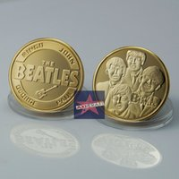beatles coins - UK beatles coin Gold clad ROCK BAND THE BEATLES COIN ROCK BAND Music superstar