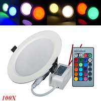 aluminum decorative panels - New Changeable RGB LED Panel Lights V W W Dimmable LED Ceiling Light Downlight Decorative Lighting