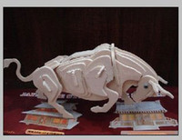 Wholesale Educational Toys Zodiac Cattle Bull Wooden D Jigsaw Model Animal DIY