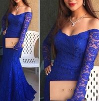 Wholesale Royal Blue Lace Prom Dresses Scoop Off The Shoulder Long Sleeves Hollow Back Formal Evening Gowns Sexy Mermaid Long Prom Dress