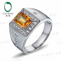 0.60 - CaiMao KT White Gold ct Natural Sapphire y amp ct Full Cut Diamond Engagement Gemstone Ring Jewelry