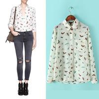 Wholesale LT213 New Fashion Ladies elegant cute insects print blouses vintage turn down collar long sleeve OL shirt casual slim brand top