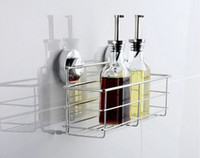 Wholesale 2015 New Bathroom Products Stainless Steel Super Power Suction Cup Wall Shower Shelf Basket Tidy Rack chrome Bath Room Holder