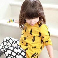 long sleeve yellow t-shirts - 2015 New Spring Long Sleeve Feather Print Girl T Shirt Casual Cotton Children Printed T Shirts Red Green Yellow