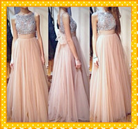 Reference Images nude dress - 2016 Fashion Nude Tulle Sliver Crystal Crew Prom Dresses A line Backless Ruched Bows Open Back Evening Formal Dress Gowns Custom Made