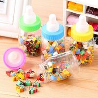 Wholesale 25 Pencil eraser sets eraser rubber school Supplies cute cartoon eraser set for kid with bottle