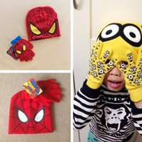 age cap - Children s Funny Knit Caps Gloves Set Cartoon Despicable Me Spider Man Gloves Hat Set For Kids Baby Winter Warm Beanies for Age Years