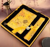 Wholesale Notebook mouse pad notepad office school supplies Chinese style silk gifts Features arts and crafts L D