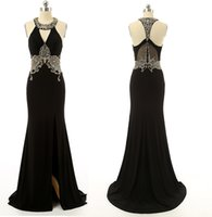 dresses in china - Sexy Sheath Black Halter Long Evening Dresses Peplum Shiny Formal Wedding Prom Party Gowns Side Slit Crystals Beaded Custom Made In China