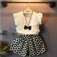 wood flower - Girls Suit Summer New Korean Solid Round Neck Wood Ear Shirt Flower Print Shorts Two piece Suit