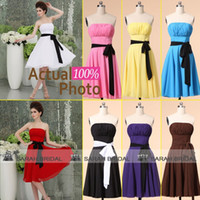 Chiffon maid of honor dress - Short Chiffon Beach Bridesmaid Dresses White Red Purple Color Black Sash Cheap Under Chic Strapless Knee Length Maid of Honor Gowns