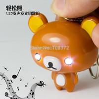 bear audio - Rilakkuma Cute LED keychain Bear keychian promotion gift toy Audio sound keychain