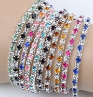 Wholesale MIC Colorful Spring Row Rhinestone Crystal Bracelets Tennis Colors