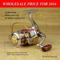 Wholesale 2016 HOT Fishing Spinning Reel EF1000 BB Metal Spool Painting Line Cup Fishing Reel Wood handle