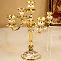 candelabras - 5 branch gold candelabra table candlestick Plating alloy candlestick home decoration European style candelabrum