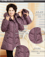 Wholesale 2015 Middle aged And Old Down Jacket Middle aged Mother Decorate Thickening Big Yards Long Down Coat Women Free Size L XL t1224