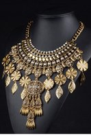 Wholesale Gold Leaf Rhinestone Statement Chunky Collar Necklace LC00080