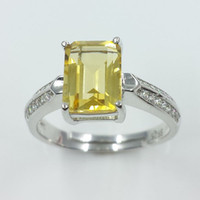 Cheap 925 sterling silver white gold plating inlaid 100% natural Brazil citrine ring Women crystal gem jewelry