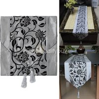 Wholesale New Vogue Silver Grey Table Runner Cloth Home Wedding Party Banquet Decoration
