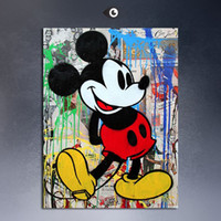 art postcard printing - 2015 tableau peinture sur toile Mr Brainwash Mic Mouse and Minn postcard popart banksy pop art print on canvas painting