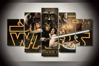 star wars cartoon pictures with best reviews - 5Pcs With Framed Printed star wars episode 4 Painting on canvas room decoration print poster picture canvas wall decor art canvas