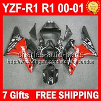 fairing r1 - 7gifts Jordan red Bodywork For YAMAHA YZFR1 YZF1000 YZF R1 R1 Q9912 YZF R1 YZF YZF R Fairings Red black Kit