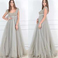 plus size evening dresses - Customized Plus Size Evening Dresses A Line Scoop Neck Short Sleeve Floor Length Sequin Lace Beads Elegant Pregnant Women Robe