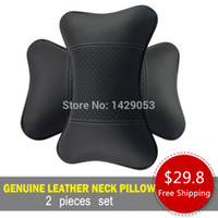 Wholesale High quality Car neck support pillow Auto interior accessory Car interior headrest neck pillow genuine leather A pair set