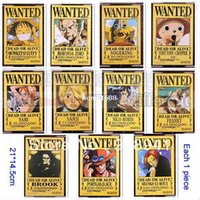 anime wall scrolls - Japan Luffy Anime One Piece Arrest Warrant Poster Wall Scroll Luff Nami Zoro Sanji Brook Robin Wanted Poster x14cm