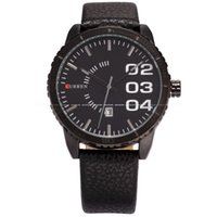 big display cases - Curren relogio Men Clock Full Black Stainless Steel Big Case Date Display Leather Band Sport Wristwatch Quartz Watch CUR052