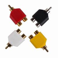 al por mayor av divisor femenino-El envío libre 1 pedazo nuevos 1 macho a 2 RCA hembra AV Audio Y adaptador de enchufe convertidor