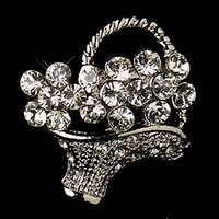 basket ball stars - Small Size Antique Silver Clear Rhinestone Crystal Diamante Flower Basket Pins and Brooches